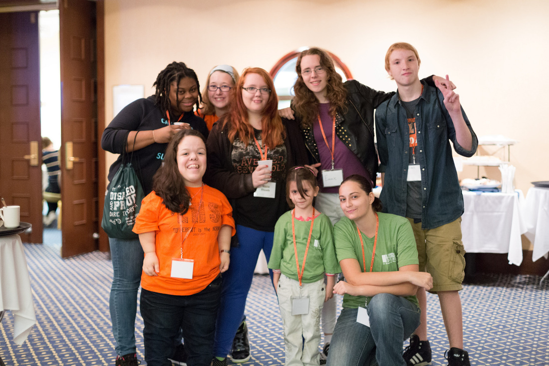 Picture of college students with various visible and not readily visible disabilities