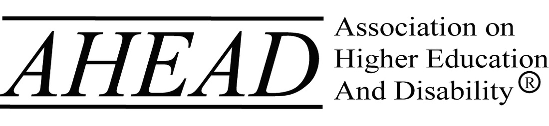 Logo for AHEAD Black lettering Association on Higher Education And Disability