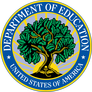 Logo US Department of Education-a leafy tree surrounded by a  blue circle
