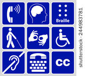 Graphic of different symbols for accessibility