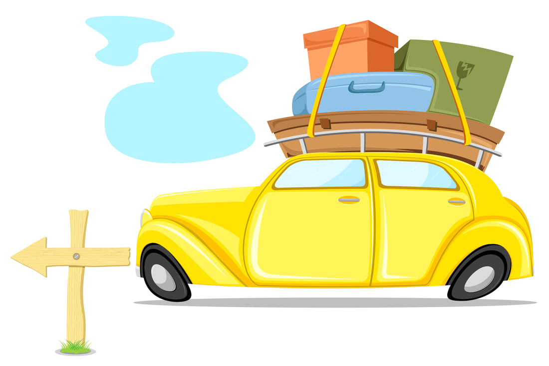 Picture of cartoon VW Bug piled high with boxes and suitcases