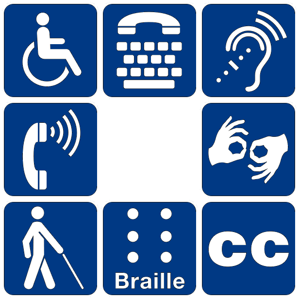 Picture of accessibility icons and symbols